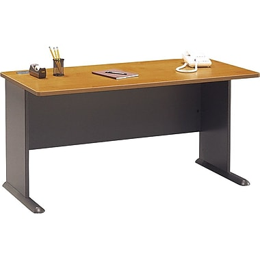 Bush Cubix 60in. Desk, Natural Cherry/Slate Gray