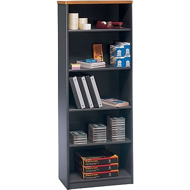 Bush Cubix 5-Shelf Bookcase, Natural Cherry/Slate Gray