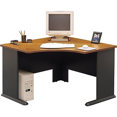 Bush Cubix 48in. Corner Desk, Natural Cherry/Slate Gray