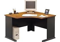 Bush Cubix 48' Corner Desk, Natural Cherry/Slate Gray