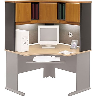 Bush Cubix 48in. Corner Hutch, Natural Cherry/Slate Gray, Fully assembled
