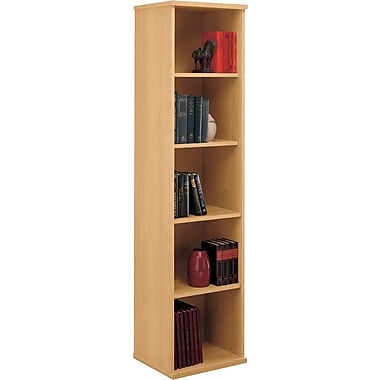 Bush Westfield 5-Shelf Space-Saver Bookcase, Light Oak