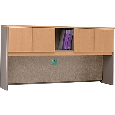 Bush Cubix 72in. Hutch, Light Oak/Sage, Fully assembled