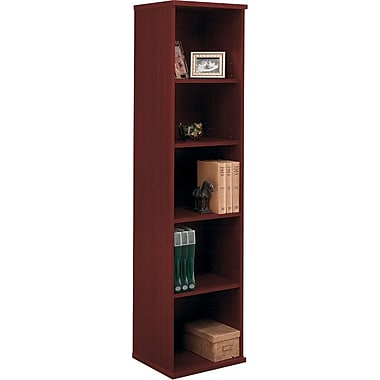 Bush Westfield 5-Shelf Space-Saver Bookcase, Cherry Mahogany, Fully assembled