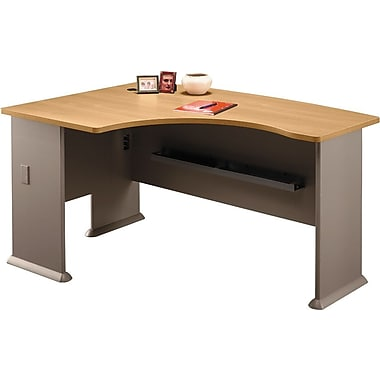 Bush Cubix Left L-Bow Desk, Danish Oak/Sage, Fully assembled