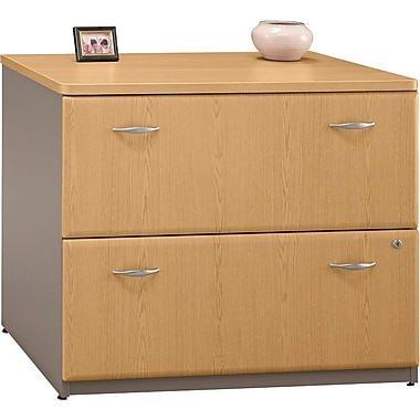Bush Cubix Lateral File Cabinet, Light Oak/Sage, Fully assembled