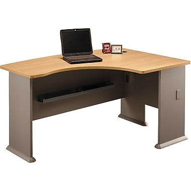 Bush Cubix Right L-Bow Desk, Light Oak/Sage