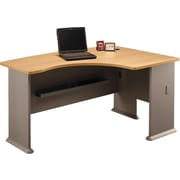 Bush Cubix Right L-Bow Desk, Danish Oak/Sage, Fully assembled