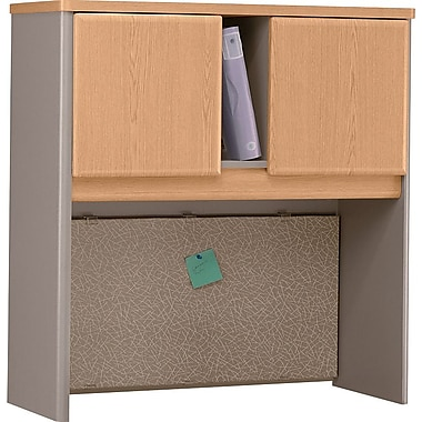 Bush Cubix 36in. Hutch, Light Oak/Sage, Fully assembled
