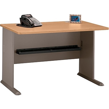Bush Cubix 48in. Desk, Danish Oak/Sage, Fully assembled