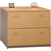 Bush Cubix Lateral File Cabinet, Danish Oak/Sage
