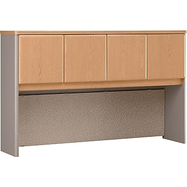Bush Cubix 60in. Hutch, Light Oak/Sage, Fully assembled