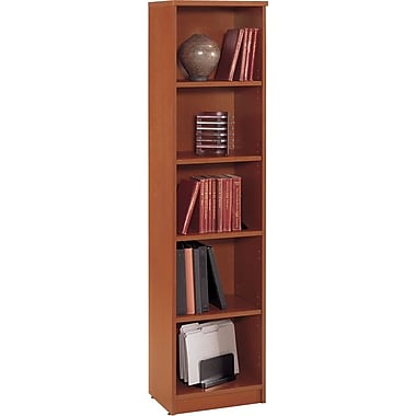 Bush Westfield 5-Shelf Space-Saver Bookcase, Autumn Cherry and Graphite Gray
