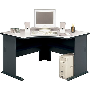 Bush Cubix 48in. Corner Desk, Slate Gray/White Spectrum