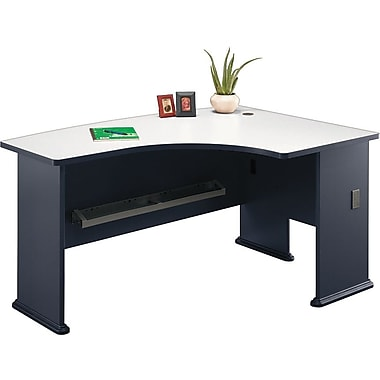 Bush Cubix Right L-Bow Desk, Slate Gray/White Spectrum