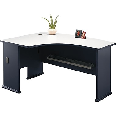 Bush Cubix Left L-Bow Desk, Slate Gray/White Spectrum