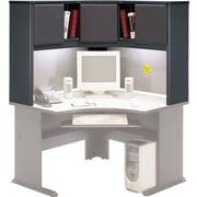 Bush Cubix 48 Corner Hutch, Slate Gray/White Spectrum, Fully assembled