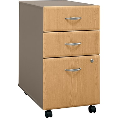 Bush Cubix 3-Drawer File Cabinet, Light Oak/Sage