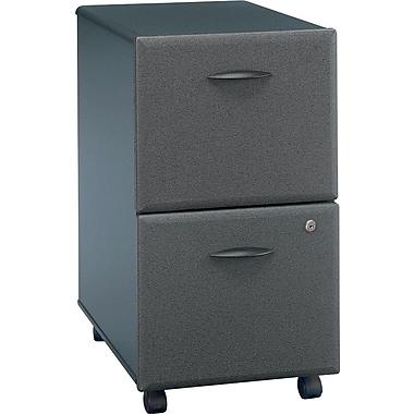 BushMD – Classeur à 2 tiroirs de la collection Cubix, fini gris ardoise/spectre blanc