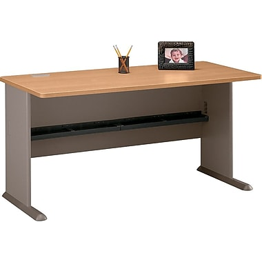 Bush Cubix 60in. Desk, Danish Oak/Sage, Fully assembled