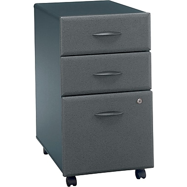 Bush Cubix 3-Drawer File Cabinet, Slate Gray/White Spectrum, Fully assembled