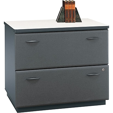 Bush Cubix Lateral File Cabinet, Slate Gray/White Spectrum, Fully assembled