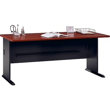 Bush Cubix 72in. Desk, Hansen Cherry/Galaxy, Fully assembled