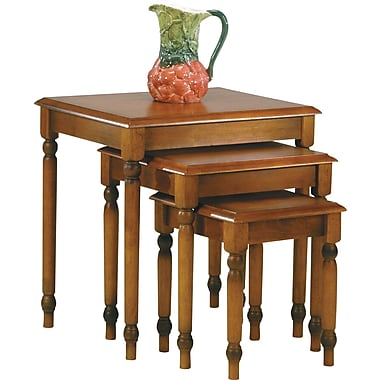 OSP Designs Knob Hill 3 Nesting Table Set, Antique Cherry