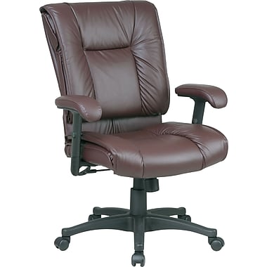 Office Star 9381 Mid-Back Leather Manager's Chair, Burgundy