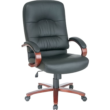 Office Star™ Elegant Wood Finish Series Bonded Leather Executive High-Back Swivel Chair