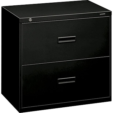 basyx™ 400 Series Lateral File Cabinet, 30in. Wide, 2-Drawer, Black