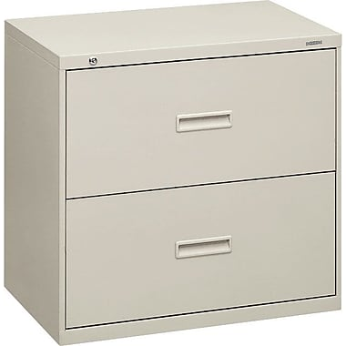 basyx™ 400 Series Lateral File Cabinet, 30in. Wide, 2-Drawer, Light Gray