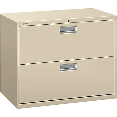 HON Brigade 600 Series Lateral File Cabinet, 36in. Wide, 2-Drawer, Putty