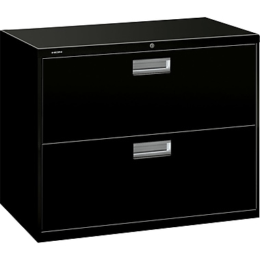 HON® Brigade 600 Series Lateral File Cabinet, 36in. Wide, 2-Drawer, Black