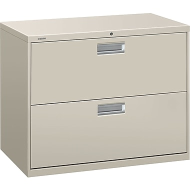 HON® Brigade 600 Series Lateral File Cabinet, 36in. Wide, 2-Drawer, Light Gray
