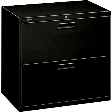 HON 500 Series Lateral File Cabinet, 30in. Wide, 2-Drawer,  Black