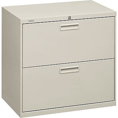 HON 500 Series Lateral File Cabinet, 30in. Wide, 2-Drawer, Light Gray