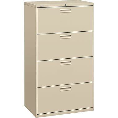 HON 500 Series Lateral File Cabinet, 30in. Wide, 4-Drawer, Putty