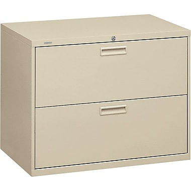 HON 500 Series Lateral File Cabinet, 36in. Wide, 2-Drawer, Putty