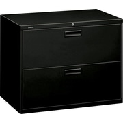 "HON® 500 Series Lateral File Cabinet, 36"" Wide, 2-Drawer, Black"