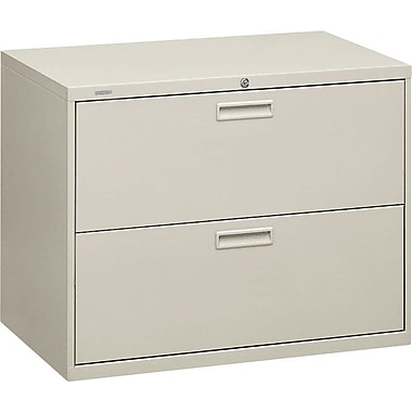 HON 500 Series Lateral File Cabinet, 36in. Wide, 2-Drawer, Light Gray