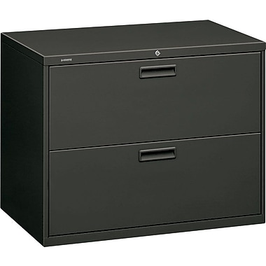 HON 500 Series Lateral File Cabinet, 36in. Wide, 2-Drawer, Charcoal