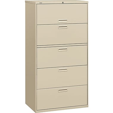 HON 500 Series Lateral File Cabinet, 36in. Wide, 5-Drawer,  Putty