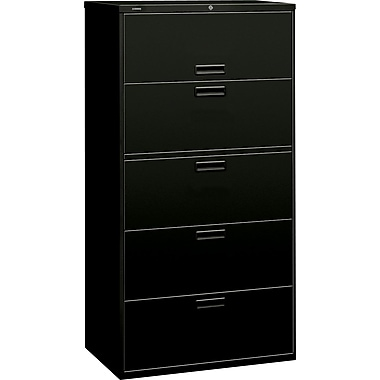 HON 500 Series Lateral File Cabinet, 36in. Wide, 5-Drawer,  Black