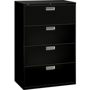 HON Brigade 600 Series 4-Drawer Lateral File Cabinet, Black