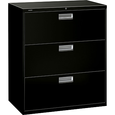 HON Brigade 600 Series Lateral File Cabinet, 36in. Wide, 3-Drawer, Black