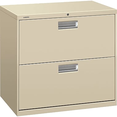 HON 600 Series Lateral File Cabinet, 30in. Wide, 2-Drawer, Putty