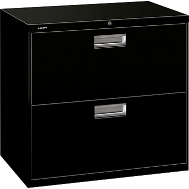 HON 600 Series Lateral File Cabinet, 30in. Wide, 2-Drawer, Black