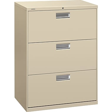HON 600 Series Lateral File Cabinet, 30in. Wide, 3-Drawer, Putty