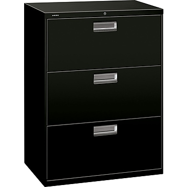 HON 600 Series Lateral File Cabinet, 30in. Wide, 3-Drawer, Black